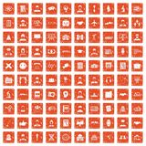 100 intelligent icons set grunge orange. 100 intelligent icons set in grunge style orange color isolated on white background vector illustration vector illustration