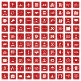 100 intelligent icons set grunge red. 100 intelligent icons set in grunge style red color isolated on white background vector illustration Stock Photography