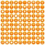 100 intelligent icons set orange. 100 intelligent icons set in orange circle isolated vector illustration vector illustration