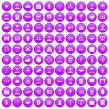 100 intelligent icons set purple. 100 intelligent icons set in purple circle isolated vector illustration vector illustration