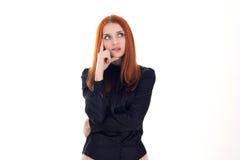 Intelligent kvinna som tänker om något Arkivfoto
