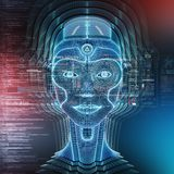 Intelligent machine with a robotic cyborg head concept 3D rendering. Intelligent machine with a robotic woman cyborg head concept 3D rendering royalty free illustration