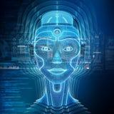 Intelligent machine with a robotic cyborg head concept 3D rendering. Intelligent machine with a robotic woman cyborg head concept 3D rendering stock illustration