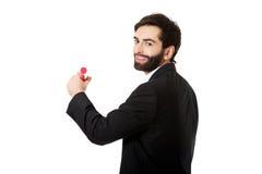 Intelligent manhandstil med den stora blyertspennan Fotografering för Bildbyråer