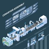 Intelligent Manufacturing Isometric Composition. With holographic control panel of assembly conveyor on dark background vector illustration royalty free illustration