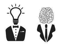 2 intelligent people head icon. Isolated 2 intelligent people head icon on white background stock illustration