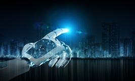 Intelligent robot machine pointing finger 3D rendering. Intelligent robot machine pointing finger on dark background 3D rendering stock illustration