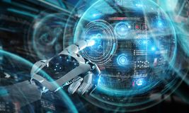 Free Intelligent Robot Machine Using Digital Screens Interface 3D Rendering Royalty Free Stock Photo - 138209865