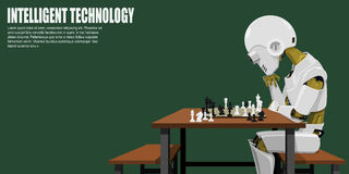 Intelligent robotic. Robot is playing chess. He`s the intelligent technology stock illustration