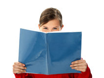 Intelligent school girl reading study book Stock Photography