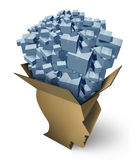 Intelligent Shipping. As a global package management delivery service or gift ideas concept as an open cardboard box in the shape of a human head managing stock illustration