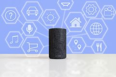 Intelligent speaker device in a smart home with some icons representing different cloud services. Empty copy space for Editor`s text stock photo