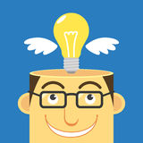 Intelligent, vector. Illustration human head and lamp,business concept Royalty Free Stock Image