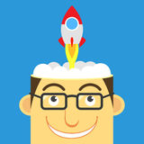 Intelligent, vector. Illustration human head and rocket,business concept Stock Images
