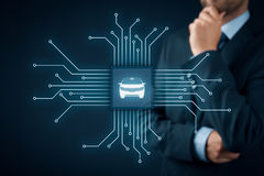 Intelligent vehicle. Intelligent car, intelligent vehicle and smart cars concept. Symbol of the car and wireless communication. Abstract chip with symbol of the Stock Photography