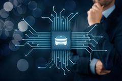 Intelligent vehicle. Intelligent car, intelligent vehicle and smart cars concept. Symbol of the car and wireless communication. Abstract chip with symbol of the Stock Image