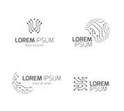 Intelligenta logoer för vektor för elektricitetsteknologiföretag med beståndsdelar för strömkretsbräde vektor illustrationer