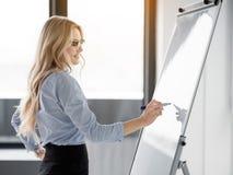 Intelligente blonde Dame, die an Bord ihre kreative Idee merkt Stockbilder