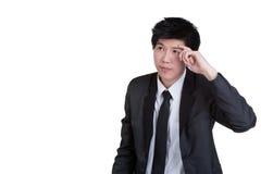 Intelligente denkende Klage des Geschäftsmannes Lizenzfreies Stockbild
