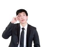 Intelligente denkende Klage des Geschäftsmannes Stockfotografie