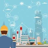 Intelligente Fabrik und um sie Ikonen führen das Gründen einer intelligenten Anlage aus Intelligente Fabrik oder industrielles In stockfoto
