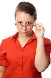 Intelligente Frau mit Gläsern Lizenzfreies Stockbild
