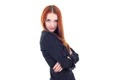 Intelligente Frau zeichnet Aufmerksamkeit lizenzfreies stockfoto