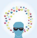 Intelligente Gläser des Sozialen Netzes Lizenzfreies Stockfoto