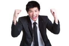 Intelligente glückliche Erfolgsklage des Geschäftsmannes Lizenzfreie Stockfotografie