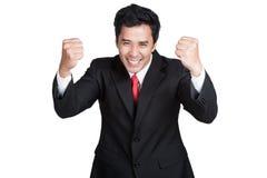 Intelligente glückliche Erfolgsklage des Geschäftsmannes lokalisiert Lizenzfreie Stockfotos