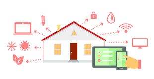 Intelligente Haus-Konzept-Ikonen-flaches Design Stockbilder