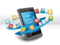 Intelligente Hausautomations-Steuerung Apps auf Smartphone vektor abbildung