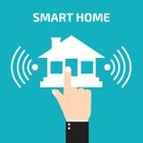 Intelligente Haustechnologie Handpressen-Hausikone lizenzfreie abbildung