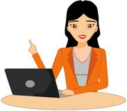 Intelligente Idee des Mädchengeschäfts, die Computer zeigt stockfotos