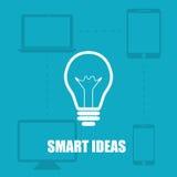 Intelligente Ideen des blauen Hintergrundes der Illustration vom Gerät Stockfoto