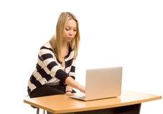 Intelligente junge Frau, die an einem Laptop arbeitet Stockfotos