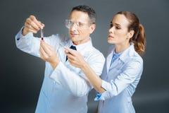 Intelligente medizinische Kollegen, die Blutprobe überprüfen Lizenzfreie Stockfotos