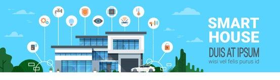 Intelligente moderne Haupttechnologie-Ikonen-horizontale Fahne Haus-Kontrollsystem-Systemschnittstelle Infographics Lizenzfreie Stockbilder