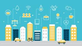 Intelligente nachhaltige Stadt-Entwicklungs-Vektor-Illustration vektor abbildung