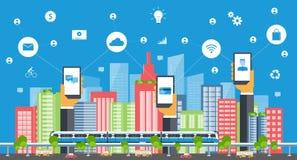 Intelligente Stadt des Geschäfts Bolzen und Seilzug auf tiefem blauem Hintergrund 3d übertrug Abbildung Stockfoto