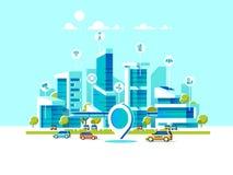 Intelligente Stadt flach Stadtbildhintergrund mit verschiedener Ikone und Elementen Moderne Architektur Handysteuerung vektor abbildung