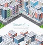 Intelligente Stadt in isometrischem stock abbildung
