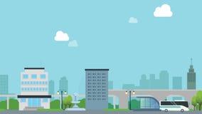 Intelligente Stadt mit Auto auf Straße und Schnellstraße Stadt mit Himmelzug und modernem Gebäudebewegungsvideo Erklärervideo stock abbildung