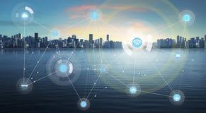 Intelligente Stadt und drahtloses Kommunikationsnetz Lizenzfreies Stockbild