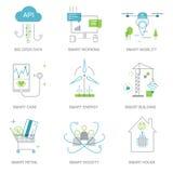Intelligente Stadt und Internet von Sachen zeichnen Ikonen Stockbild