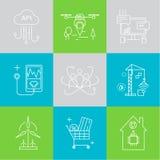 Intelligente Stadt und Internet von Sachen zeichnen Ikonen f Lizenzfreies Stockfoto