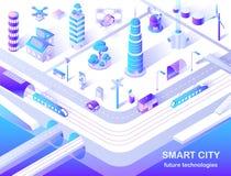 Intelligente Stadt-zukünftige Technologie-isometrisches Flussdiagramm lizenzfreie abbildung