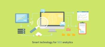 Intelligente Technologie für SEO Analytics Icon Flat lizenzfreie abbildung