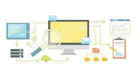 Intelligente Technologie für SEO Analytics Icon Flat stock abbildung