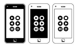 Intelligente Telefon-Musik-Spieler-Knöpfe Stockfoto